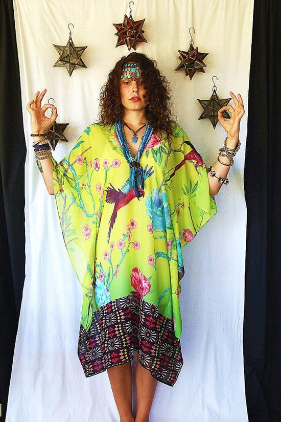 Bird of Paradise Silk Kaftan by Molly Kaftans by MollyKaftans, $159.00