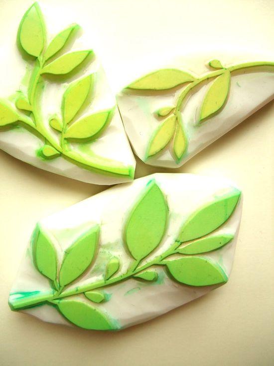 spring leaf rubber stamp hand carved rubber stamp  by talktothesun, $24.00