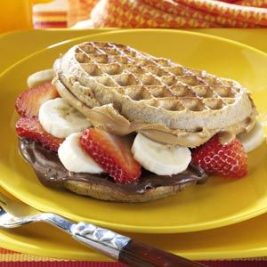 Nutty Waffle Sandwiches for breakfast:  Toast waffles according to package directions. Spread four waffles with Nutella. Layer with bananas and strawberries. Spread remaining waffles with peanut butter; place over top.