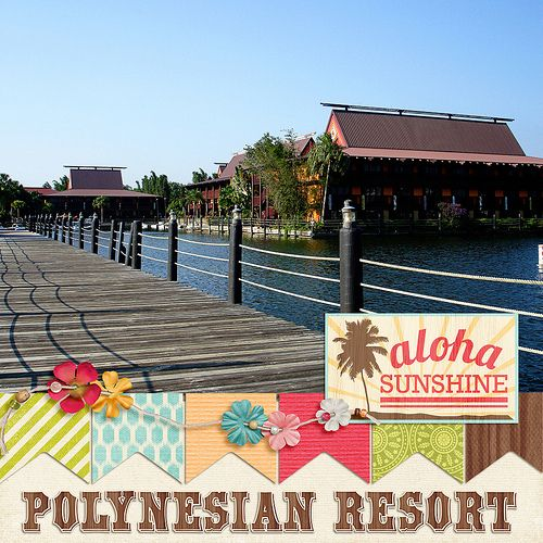 Polynesian Resort at Disneyworld digital scrapbook layout by Katie Nelson