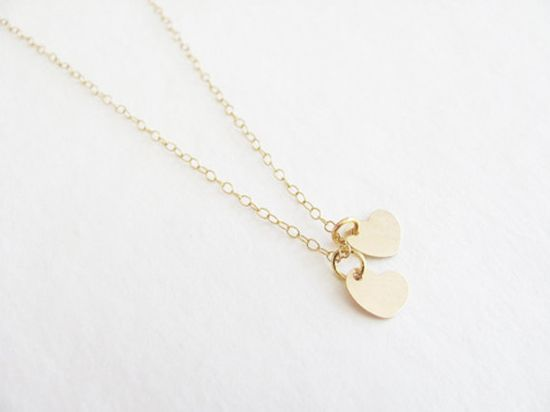 Two 14k Gold Filled Hearts Necklace