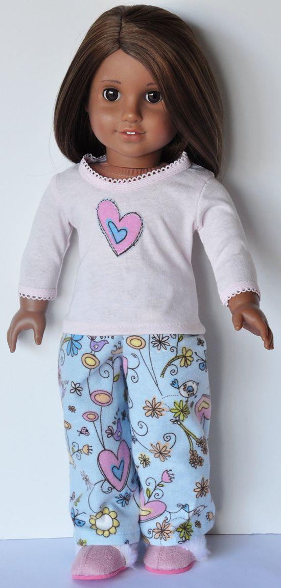 American Girl Clothes  Flannel Pjs Shirt & by LoriLizGirlsandDolls, 18.00