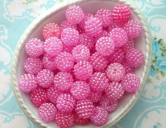 Vintage Cotton Candy Pink Berry Beads