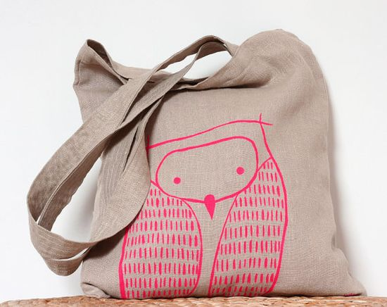 Neon Pink Owl Tote Bag  Natural Linen Owl Tote Bag  by LesMiniboux, €27.00