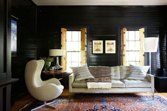 Black walls white furniture
