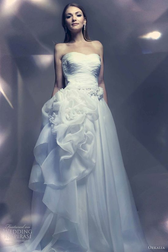 orkalia 2013 couture bridal gown strapless wedding dress
