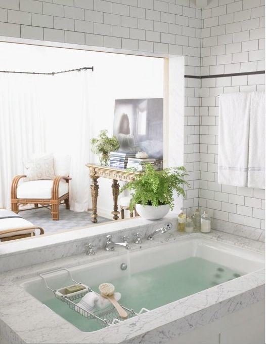 Subway tile and marble bath