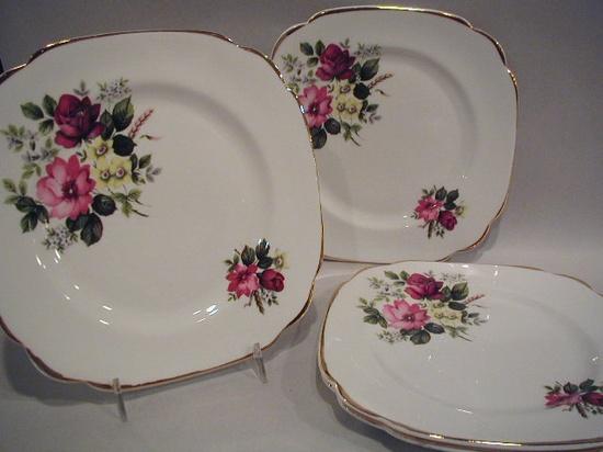 Vintage Bone China Plates - Set of 4 - Roses Motif - Bone Coronet China England - Dessert Plates - Salad Plates - Tea Party. $26.00, via Etsy.