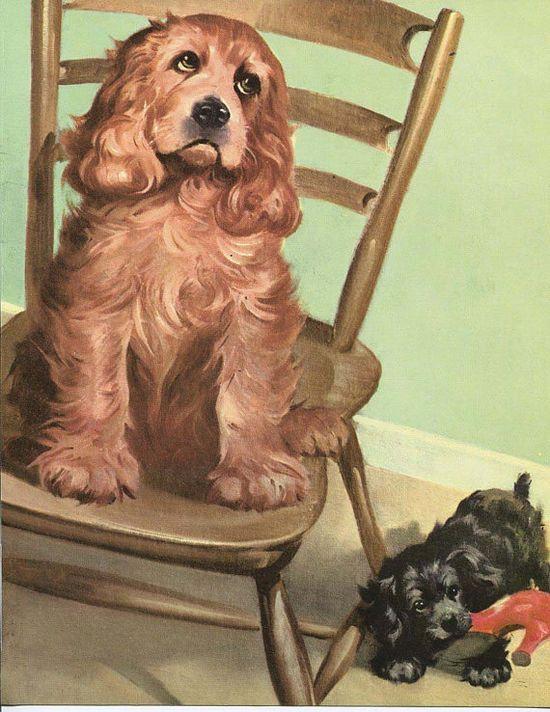 Cocker Spaniel dog Illustration by Wesley Dennis  by RoxyRani, $7.00