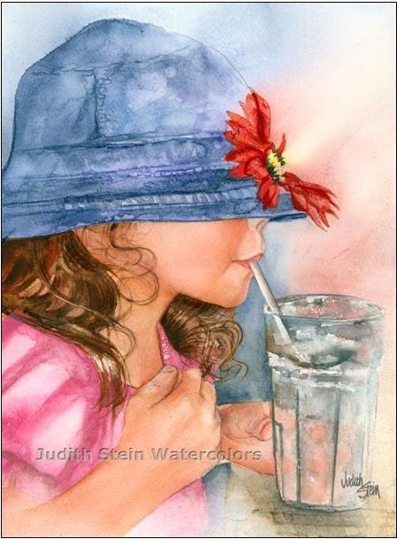 BLUE HAT Soda Pop Girl 15x11 Giclee Watercolor by steinwatercolors, $40.00