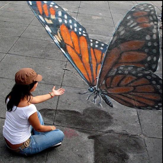 3D Chalk Art - Julian Beever Butterfly