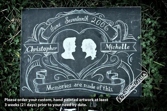 custom chalk wedding sign with silhouettes