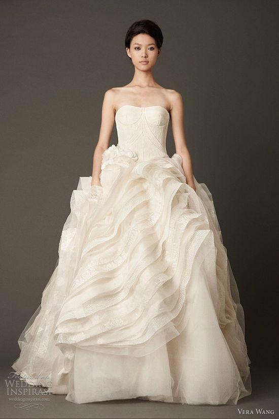 vera wang wedding dresses fall 2013 bridal strapless ball gown flange skirt corded bodice