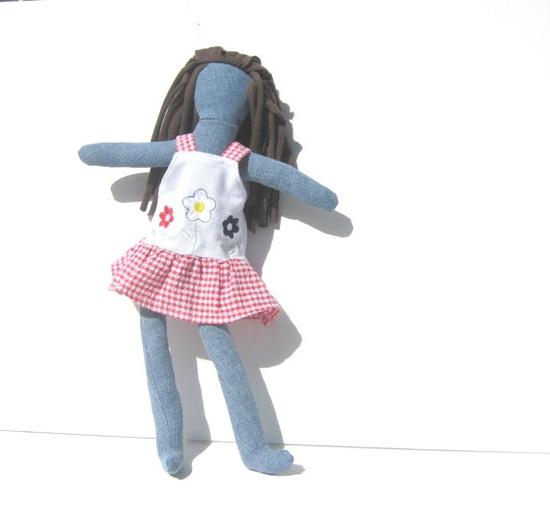 Fabric Doll Upcycled Denim Rag Doll Modern by SmiLeaGainCreations, $34.00