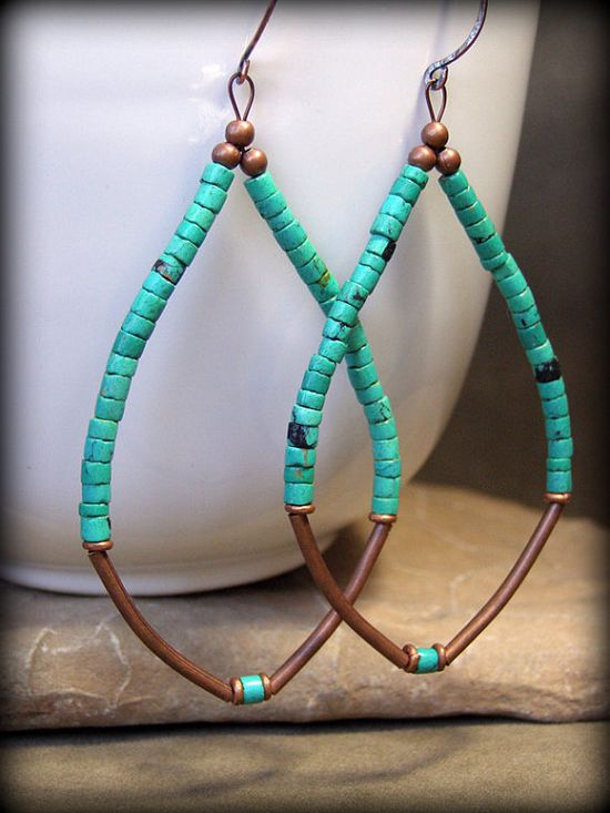 Awesome Turquoise Hoop Earrings by Etsy's StoneWearDesigns. #boho #bohemian #jewellery #jewelry #handmade
