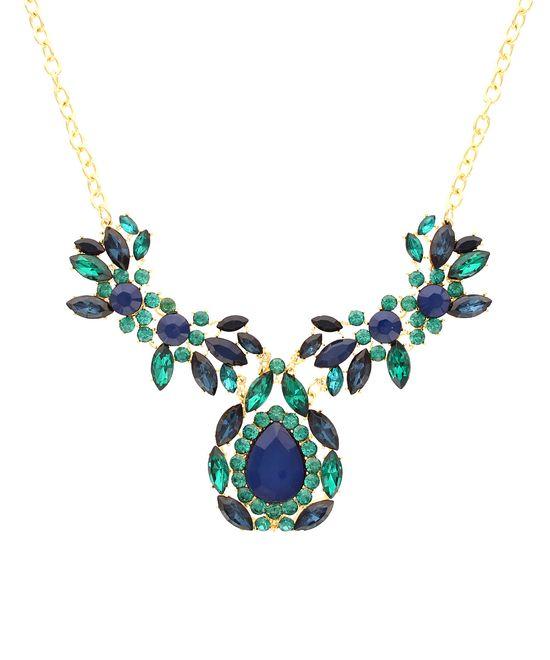Blue & Gold Statement Floral Necklace
