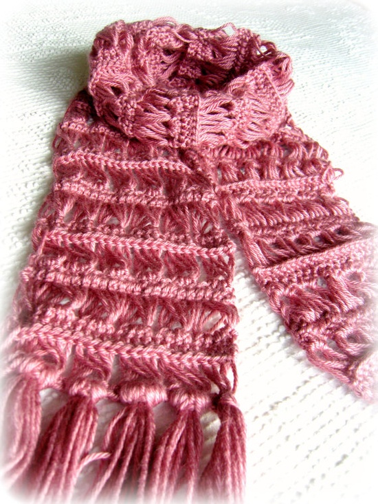 Inspiration only ~ Pink Scarf  Crochet Scarf  Broomstick Lace.