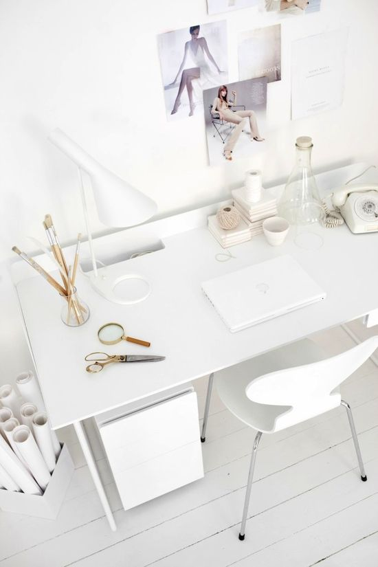 all white modern workspace