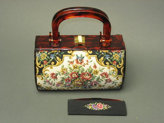 1950s Walborg BOX Lucite Tapestry Purse with mirror/comb needlepoint WEST GERMANY