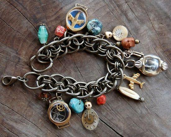 Handmade LOST Clockwork Charm Bracelet. $75.00, via Etsy.