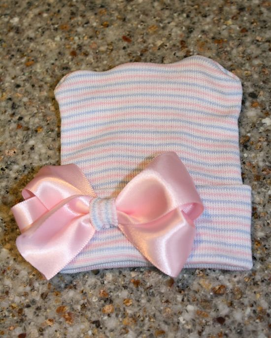 First Bow Newborn Hospital Hat by CradleCuties on Etsy, $12.00