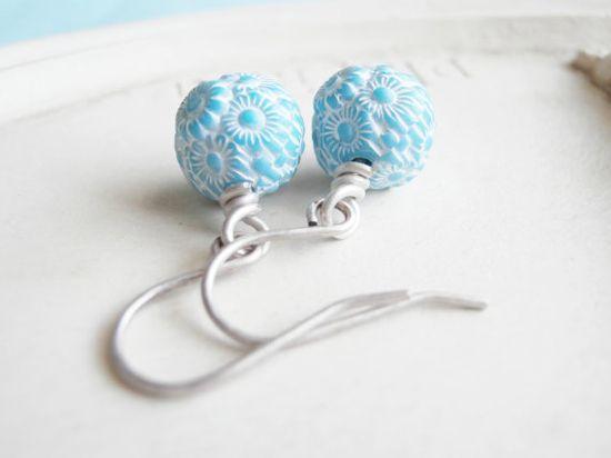Vintage Bead Earrings Blue and Silver Earrings by linkeldesigns