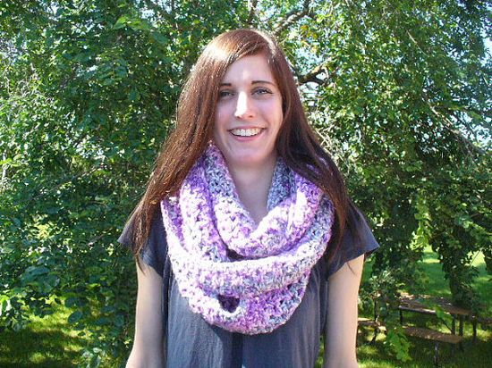 FREE SHIPPING  Crocheted Purple & Blue infinity scarf by ACCrochet, $25.00