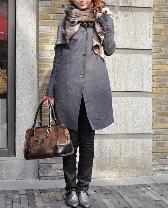 Linen Trench Coat Jacket in Grey - Custom Made.