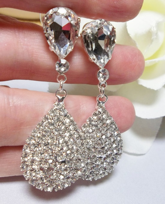 Beautiful RHINESTONE STATEMENT Earrings - Luminuos and large.. $36.00, via Etsy.