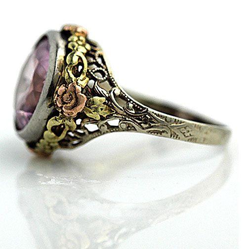 Antique 14 Kt Tri Tone Pink Zircon Ring Circa 1930's