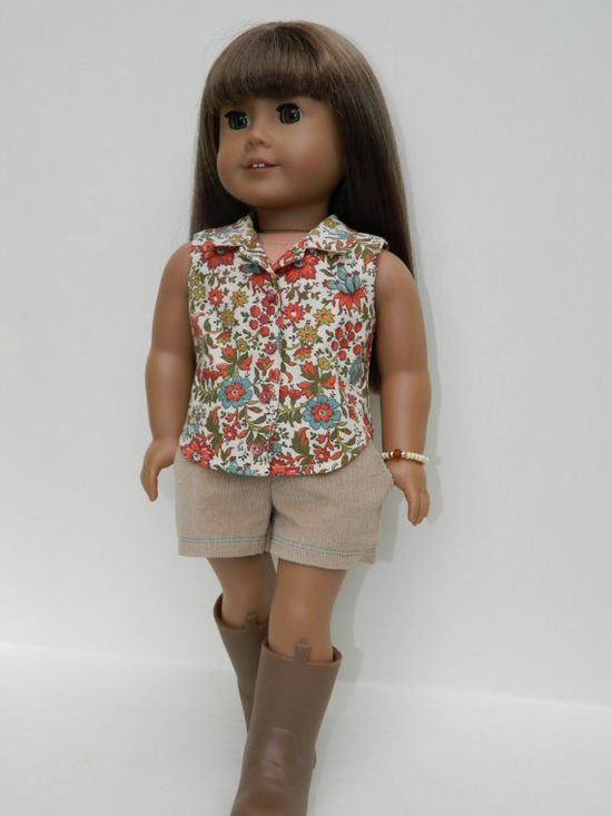 American Girl Doll Clothes  Tan Corduroy Shorts by 18Boutique, $20.00