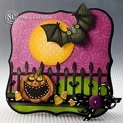 handmade Halloween card by Shari Carroll .. luv all of the details in this scent ... die cut bat and fence ... purple sky... laughing Jack-o-Lantern ... orange polka dot full moon ... and more ... luv it!!