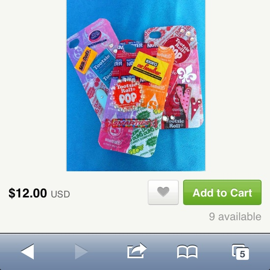 Candy wrapper iPhone case. (Actually Blank IPhone case covered in candy wrappers.) etsy.com (only need one of the three cases.)