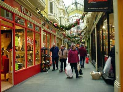"This is the castle arcade in Cardiff, Wales, a Victorian ""mall"" lined with little shops and I think it's about a hundred years old.  Dying to go see this and go shopping there, not particularly into shopping but people keep telling me how awesome this is."
