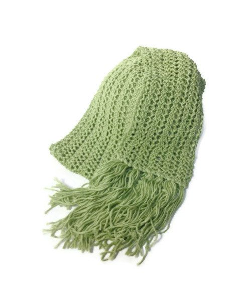 Cool Green Sheen Hand Knit Lace Scarf by ArlenesBoutique on Etsy, $55.00