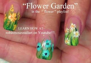Nail-art by Robin Moses - Country wild flower nails