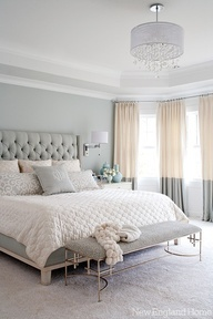 Creme + grey bedroom. Just throw in some coral and turquoise, and that would be perfect!
