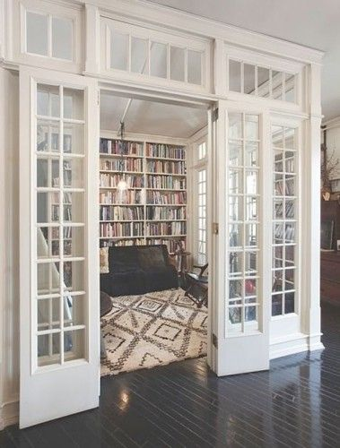 Reading room with an amazing Moroccan rug.