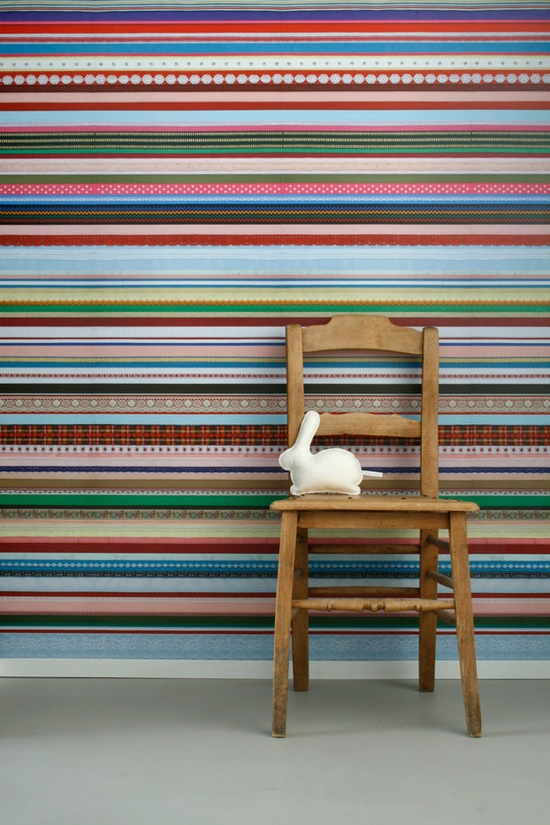Linten Behang Wallpaper: Love the beautiful strips of ribbon that make up this wallpaper. The color combos are gorgeous.