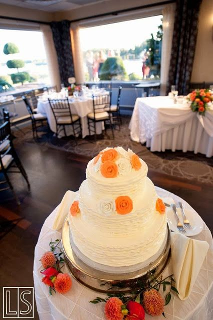 white, ruffle wedding cake