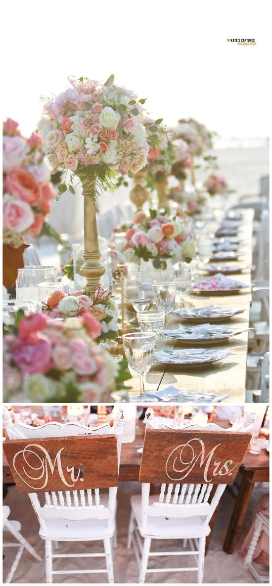 Beachside wedding reception table.