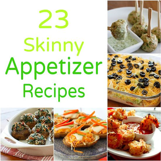 23 Skinny Appetizer Recipes - Perfect finger foods for New Years Eve! #NYE #apps #football. These actually look really good. So trying the creamy spinach dip!
