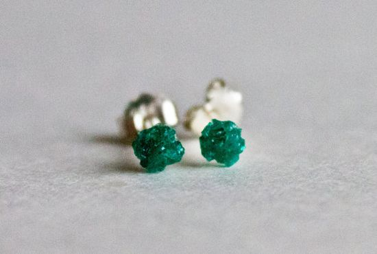 Dioptase stud earrings   sterling silver by CraftsGardenOfZen, $57.00
