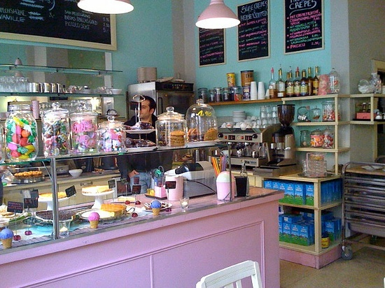miette bakery interior. Love those candy colors