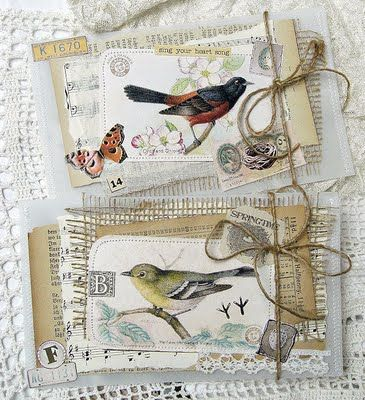 beautiful cards with vintage bird images