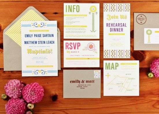 """I like the idea of having a """"design"""" and then altering it, perhaps with color, for the different elements in the suite. (rehearsal dinner, brunch, rsvp card, etc)"""