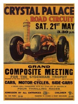 AP480 - Crystal Palace Racing Poster, 1938
