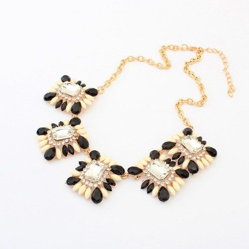 Black and Apricot Gemstones Necklace