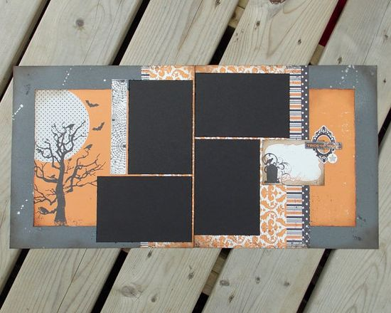 #papercraft #scrapbook #layout #Halloween. 12x12 Premade Scrapbook Pages - Halloween - Trick or Treat - Double Page Layout