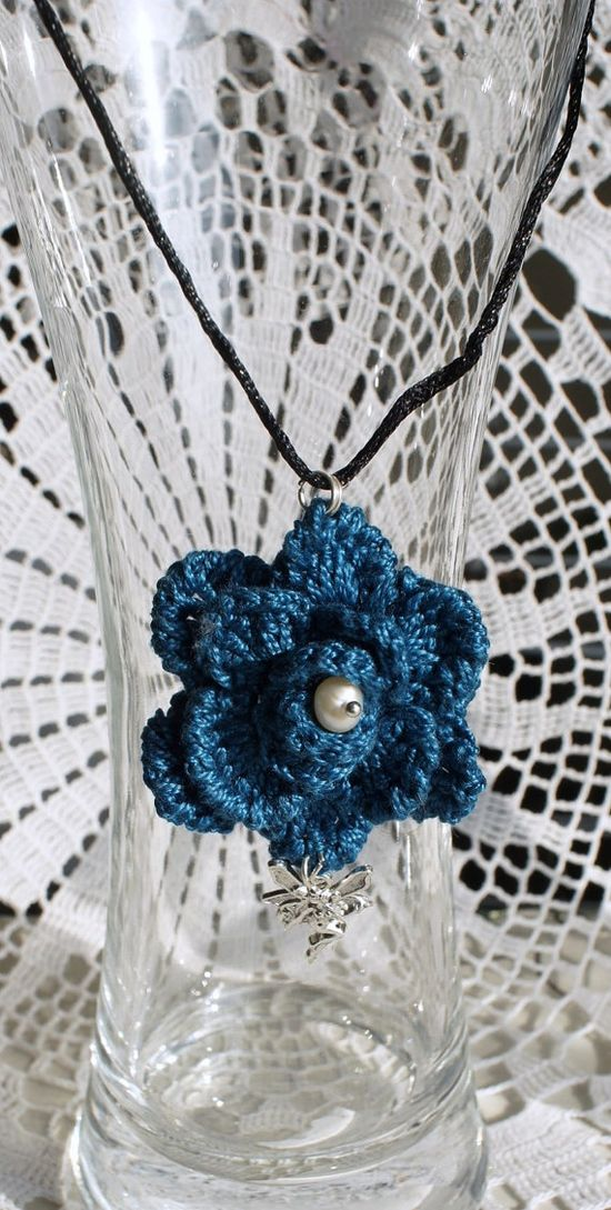 irish rose crochet necklace/teal color rose with pearl by emymade, $12.00